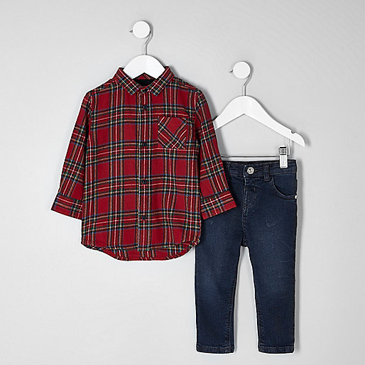 Mini boys red tartan shirt and jeans outfit