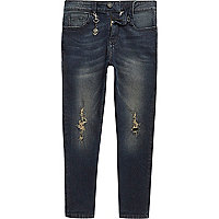 Boys dark blue Dylan distressed slim jeans
