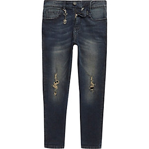 Boys dark blue Dylan distressed slim jeans