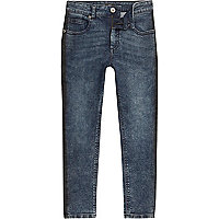 Boys blue acid wash stripe Sid skinny jeans