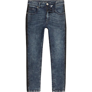 Boys blue acid wash stripe Sid skinny jeans