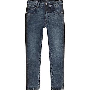 Sid - Blauwe gestreepte skinny acid wash jeans voor jongens