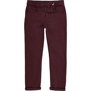Sid - Bordeauxrode skinny jeans voor jongens