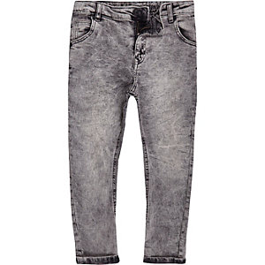 Danny – Graue Loose Fit Jeans in Acid-Waschung
