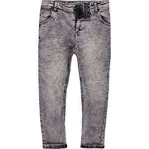 Danny - Grijze ruimvallende acid wash jeans voor jongens