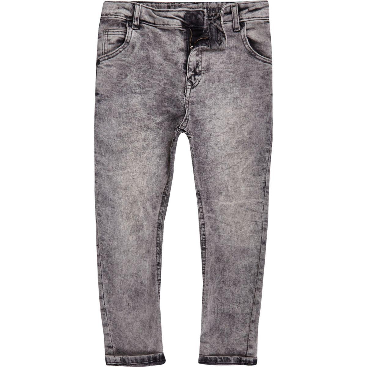 Boys grey acid wash Danny slouch jeans