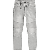 Boys light grey biker Sid skinny jeans