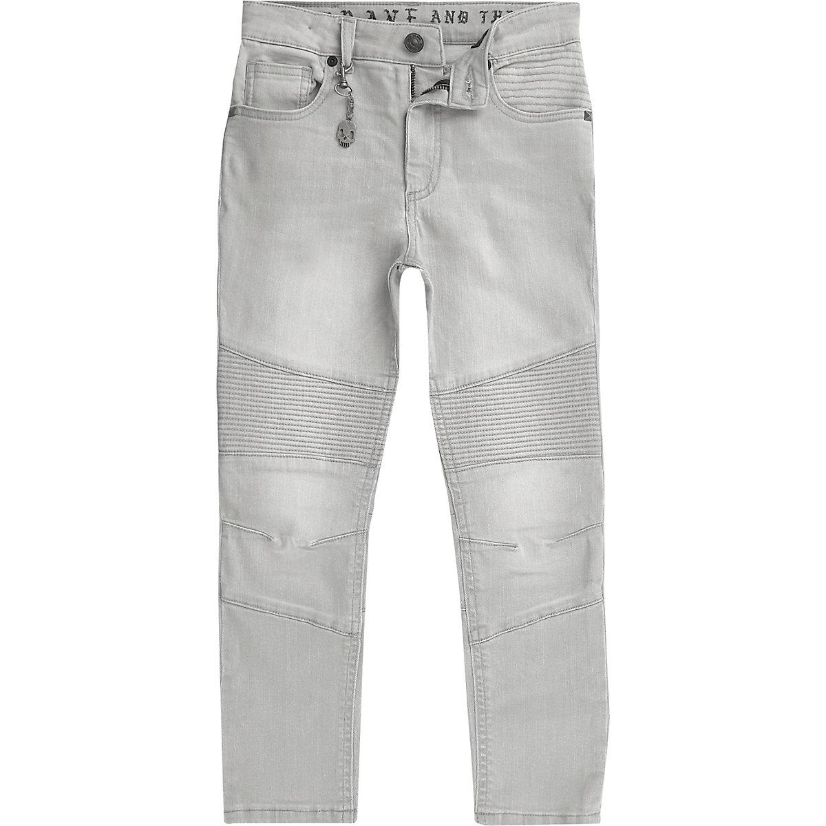 Boys light grey biker Sid skinny jeans