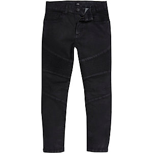 Boys black biker panel Sid skinny jeans
