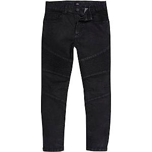 Sid - Zwarte skinny jeans met bikerpaneel voor jongens