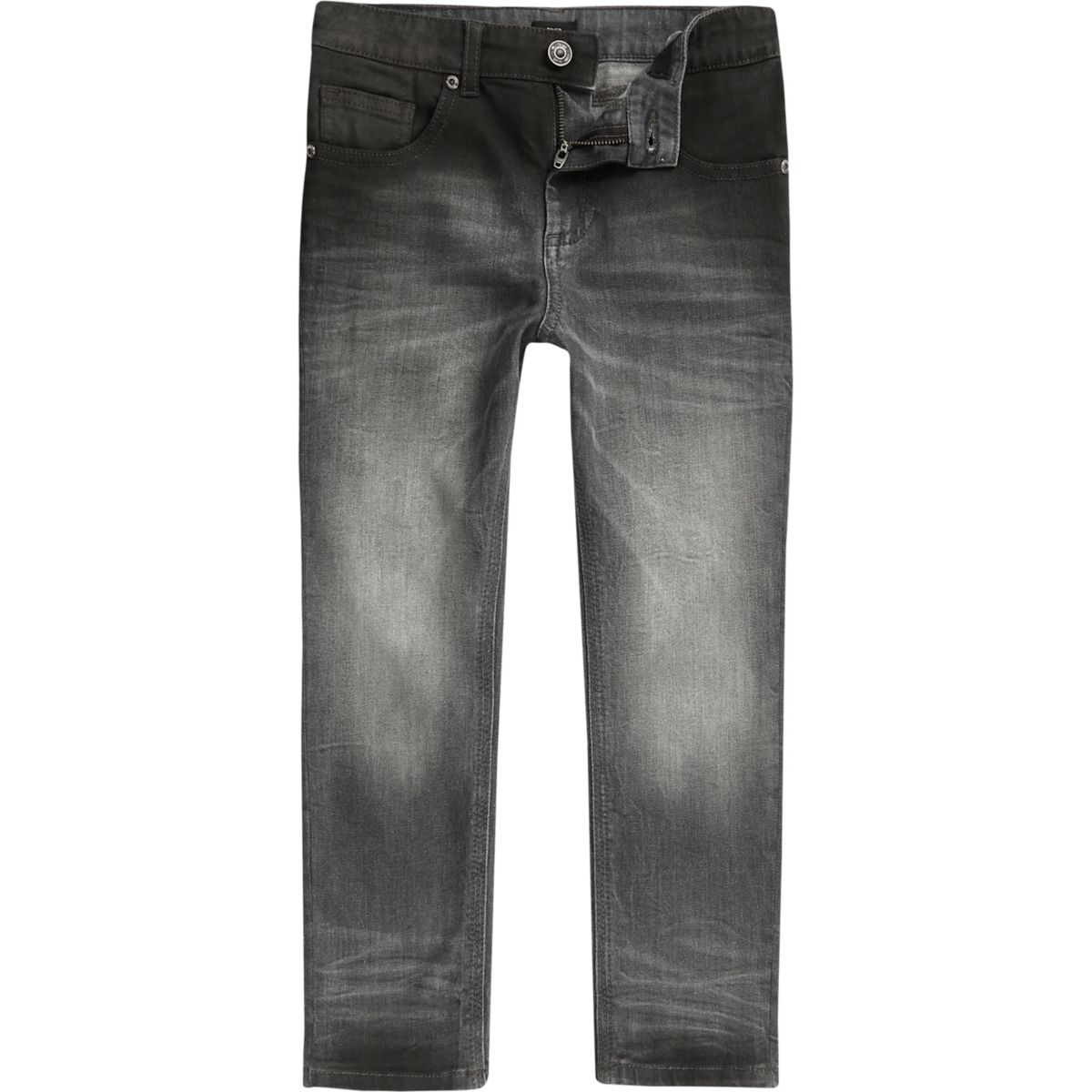 Boys grey ombre fade wash Sid skinny jeans