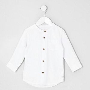 Mini boys white long sleeve grandad shirt