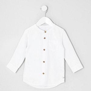 Mini boys white long sleeve grandad shirt