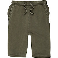 Boys khaki green jersey shorts