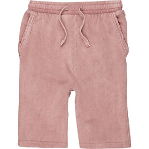 Jersey-Shorts mit Waschung in Rosa