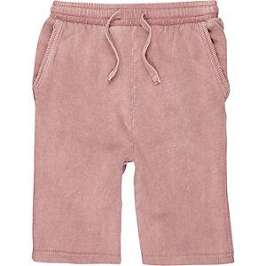 Roze washed jersey short voor jongens