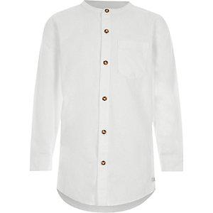 Boys white long sleeve grandad shirt