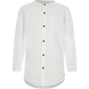 Boys white long sleeve grandad shirt