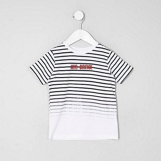 Mini boys white stripe 'NYC' print T-shirt