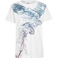 Boys white phoenix smudge print T-shirt
