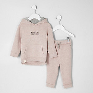 Mini boys pink sweatshirt and joggers outfit