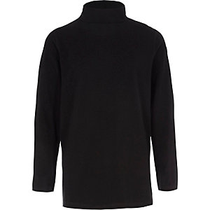 Boys black roll neck long sleeve top