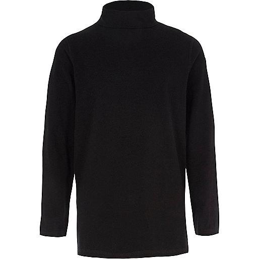 Boys black roll neck long sleeve top