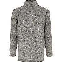 Boys grey roll neck long sleeve top