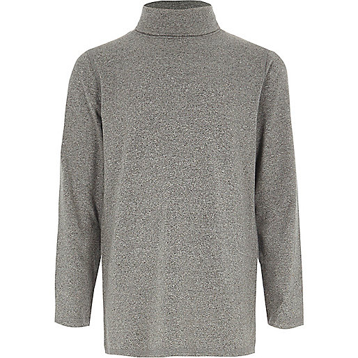 Boys grey roll neck long sleeve top