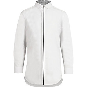 Boys white tipped front long sleeve shirt