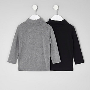Mini boys black and grey roll neck multipack