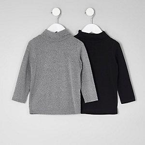 Lot de pulls à col roulé gris et noir mini fille
