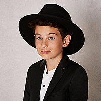 Boys black RI Studio skull fedora hat