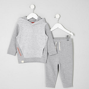 Mini boys grey waffle hoodie outfit