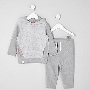 Mini - Outfit met grijze hoodie met wafeldessin voor jongens