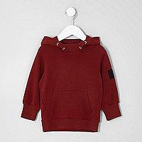 Mini boys dark red patch sleeve hoodie