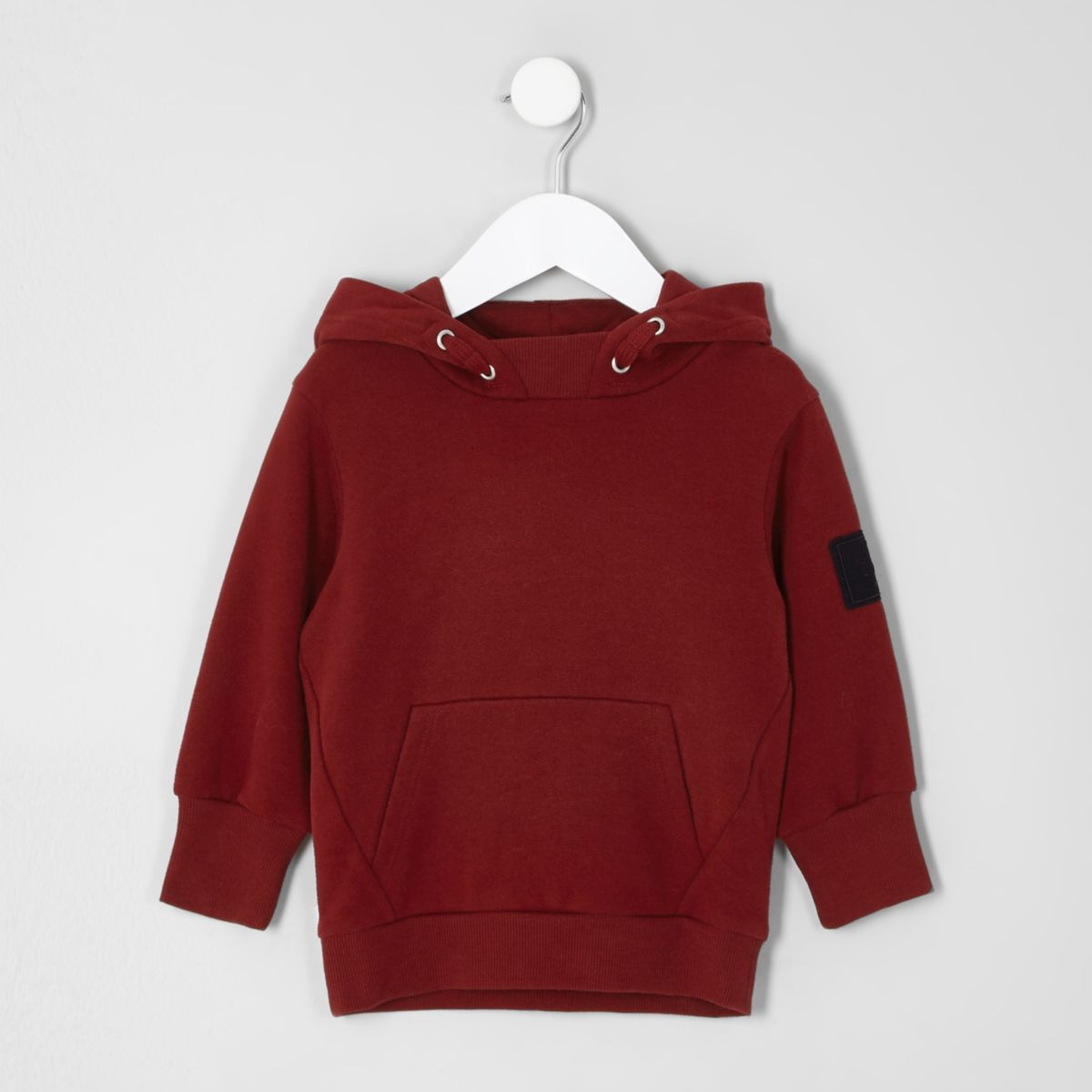Mini boys dark red patch sleeve hoodie