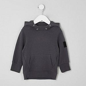 Mini boys grey brushed jersey hoodie