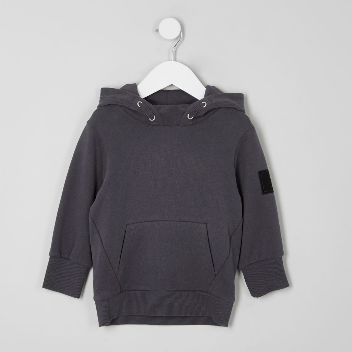 Mini boys grey brushed jersey hoodie