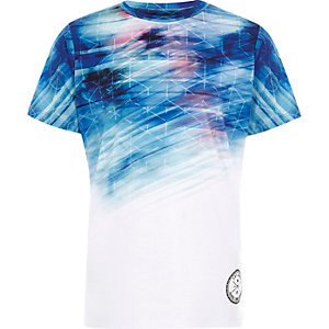 T-shirt à imprimé géométrique en dégradé blanc pour garçon