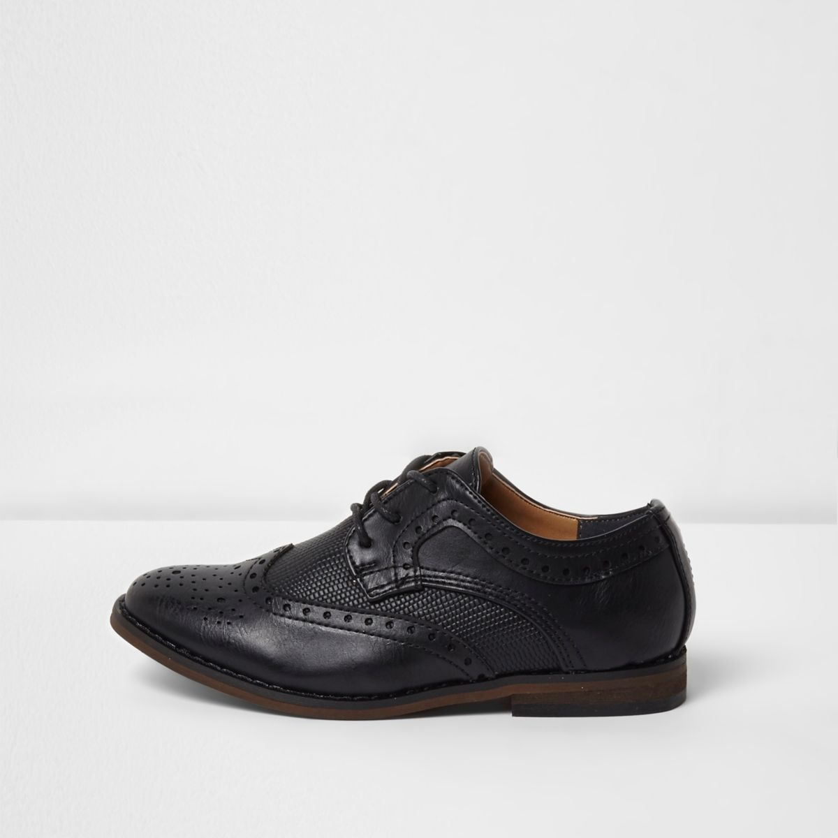 Boys black croc panel brogues