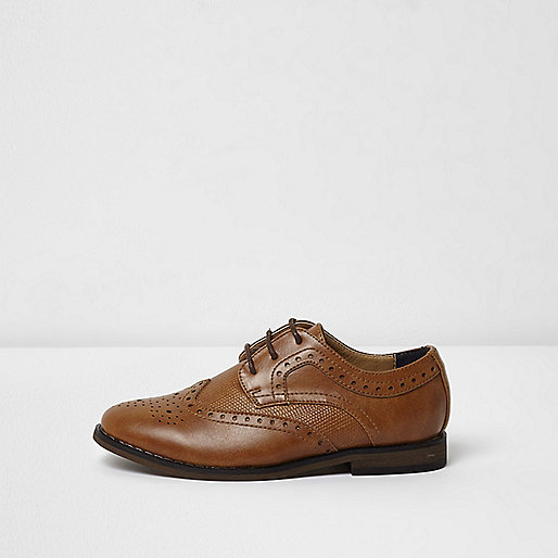 Boys tan croc embossed brogues