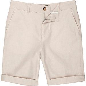 Crème short met linnen voor jongens