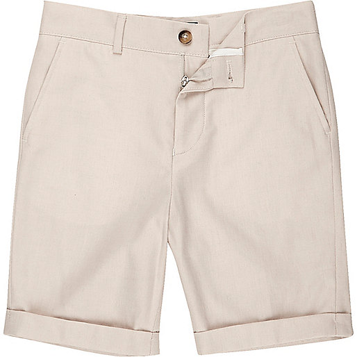 Boys cream suit shorts with linen