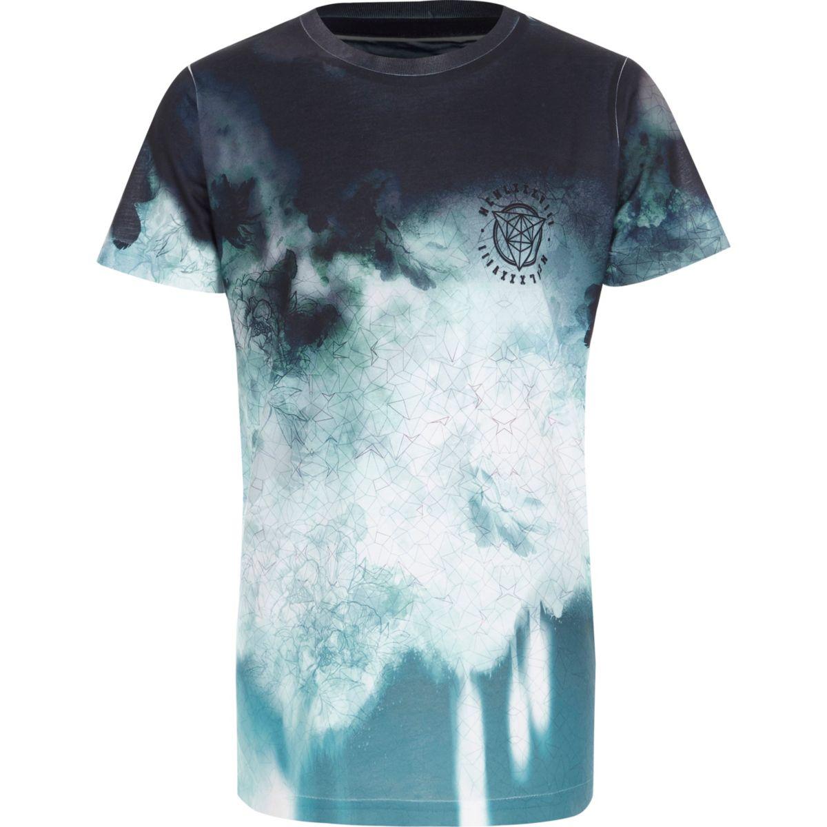 Boys blue tie dye geo fade T-shirt