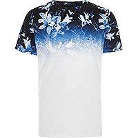 Boys white floral ombre print T-shirt