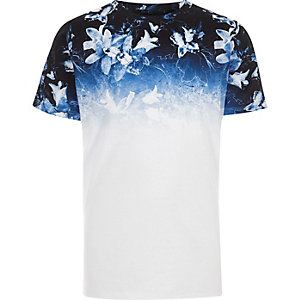 Boys white floral ombre print T-shirt