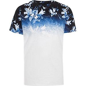 T-shirt blanc imprimé à fleurs en dégradé pour garçon