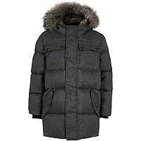Boys grey faux fur hood puffer coat