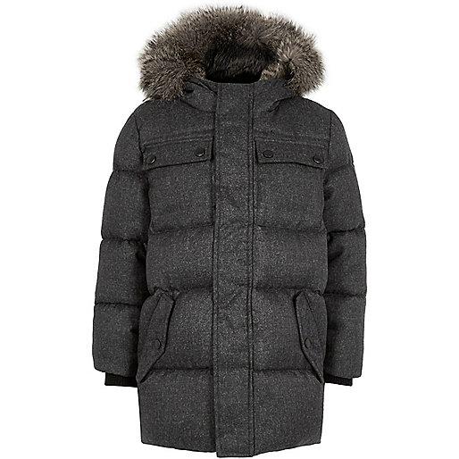 Boys grey faux fur hood puffer coat